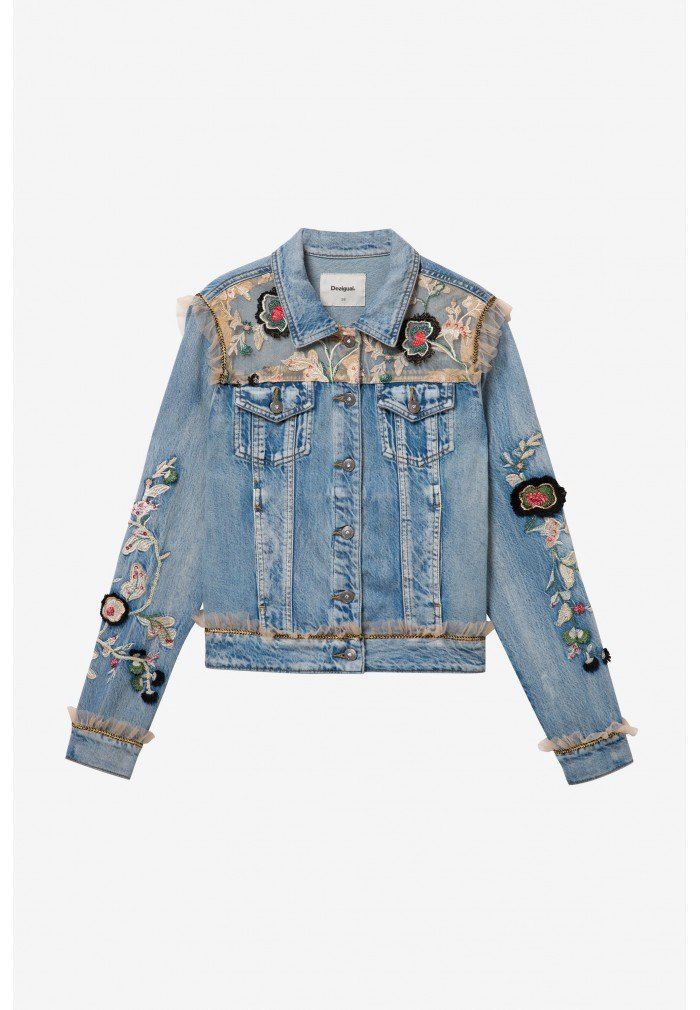 Mujer Desigual Mujer Flowers Vaquera Chaqueta Flowers XZ5qY